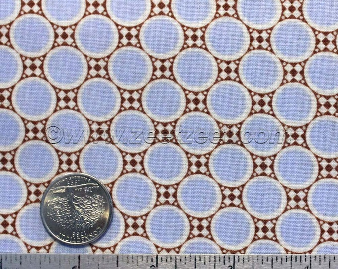 SALE 50% Off Amy Butler DECO DOTS Peri Periwinkle Blue Cotton Quilt Fabric - by the Yard - Gypsy Caravan