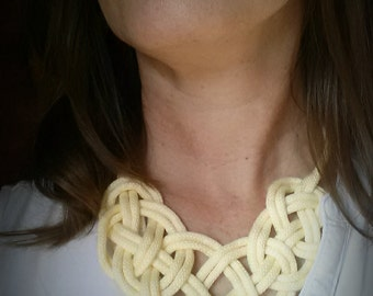 Sailor Knot Bib Necklace Yellow Collar Nautical Wedding Rope Necklace Gift For Mom Fiber Necklace Yellow Dress Summer Dresses for Women