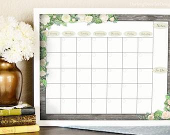 Floral Calendar - 2017 Monthly Calendar - Printable Calendar - Dry Erase Calendar - Wall Calendar - Rustic Calendar - Family Organization