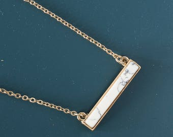 White marble bar Necklace, Gemstone bar pendant necklace, Dainty necklace, Geometric necklace, howlite and gold, Bridesmaid necklace, Gift
