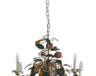 Unique tole chandelier with scrolling branches
