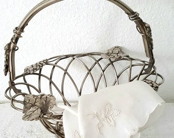 Vintage Silver Plated Metal Basket by Godinger and Tattered Antique Handmade Handkerchief Liner.