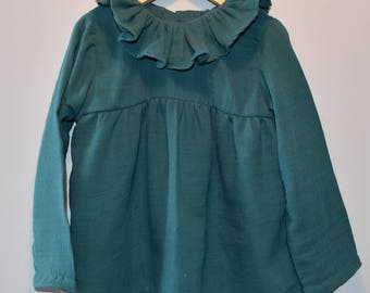 Blouse / tunic / double gauze frill collar