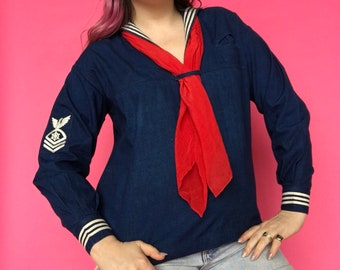 1920s Middy Top / 20s Sailor Blouse / Nautical Chambray Denim