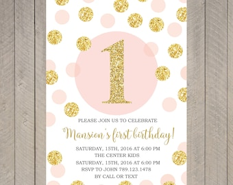 Printable First Birthday Invitation, 1st Birthday Invitation Invite, Pink and Gold Glitter Birthday | AN_01