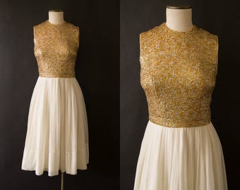 vintage 1960s dress / 60s tinsel and chiffon party dress / small / Golden Girl Dress