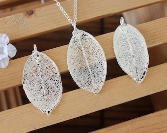 Silver Rose Silver Leaf Necklace, Real Leaf Necklace, Rose Leaf, Sterling Silver Leaf Necklace, Long Leaf, Slim Leaf, LC191