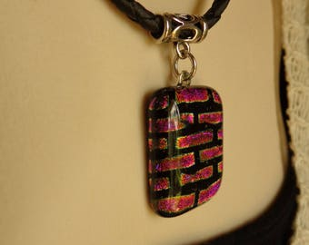 Pink Brick Glass Pendant on Leather