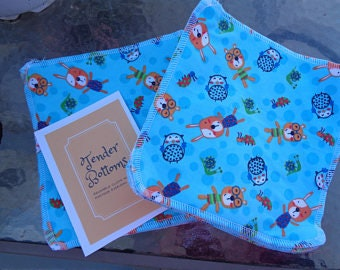30 Ct 1 Ply Tender Bottoms Baby Wipes in 8 inch Square, cloth wipes