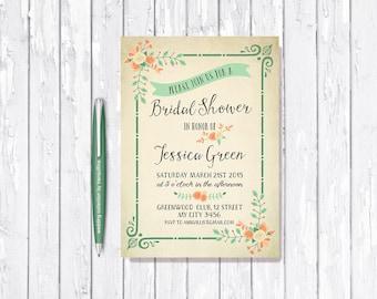 Mint Coral Bridal Shower Invitation Printable, Rustic Bridal Invitation, Floral Bridal Shower Invitation, Mint & Orange Bridal Shower