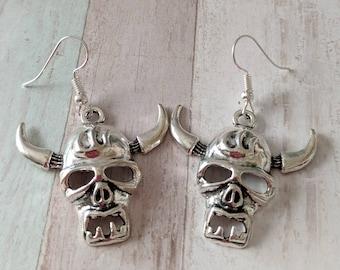 Gothic earrings, skull earrings, demon earrings, punk earrings, satan earrings, Wicca earrings, devil earrings, day of the dead,