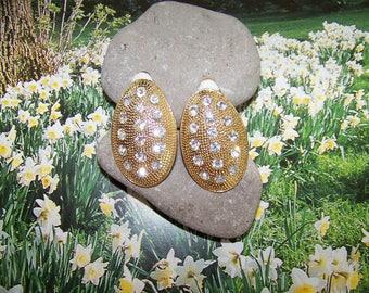 Vintage Oval gold tone rhinestone clip earrings, holiday earrings, statement jewelry, vintage earrings