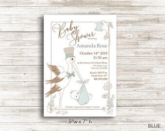 Printable Stork Baby Shower Invitation, 3 COLOR OPTIONS