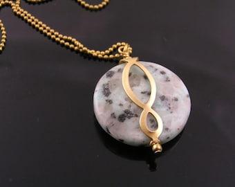 Eternity Necklace, Sesame Jasper Necklace, Very Large Gem Necklace, Jasper Jewelry, Infinity Jewelry, Eternity Jewelry, N1440