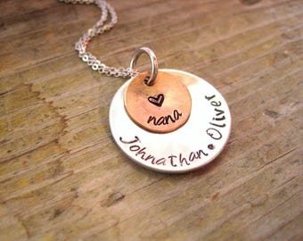 GIFT FOR NANA - Mother's Day gift, Gift for Grandma, Nana Necklace, Hand Stamped Necklace, Kids Names Necklace, Gift for Mom, Gift for Her