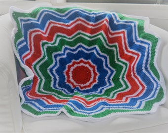 Blue Green and Red Crochet Baby Star Blanket, Blue Green and Red Crochet Blanket, Baby Blanket, Baby Crochet Blanket, Star Crochet Blanket