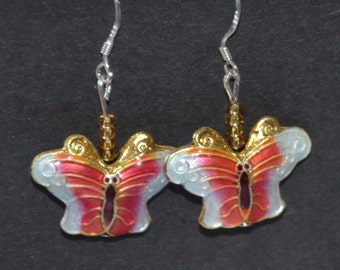 A Set of Cloisonne and Beaded Earrings - Butterfly