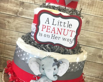 Little Peanut Diaper Cake in Red and Gray, Elephant Baby Shower Centerpiece, Elephant Diaper Cake for Girls
