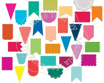 Banners SVG Digital Die cut DXF+ Studio3+ PNG- 30 banners Clipart Cut files x Silhouette Cricut Pennant Party Decor 30 shapes Bunting Flags
