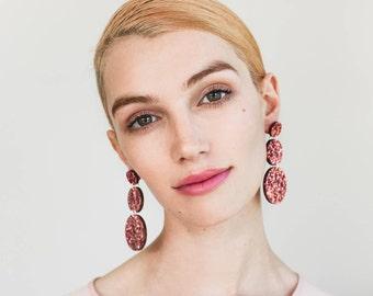Lush Triple Drops -  Laser Cut Drop Earrings - Dusty Pink Glitter - Each To Own Exclusive