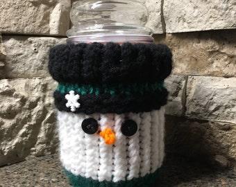 Snowman Candle Jar Cozy - a loom knit pattern