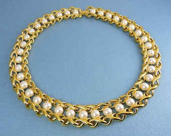 NAPIER 1980's Faux Pearl & Double Rope Collar Necklace, Superior Quality