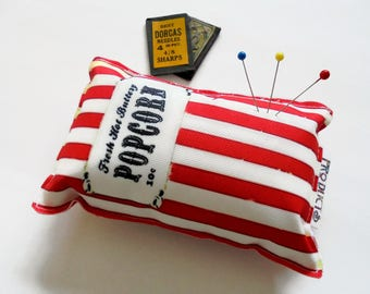 Sewing Gift, Canvas Pin cushion, Vintage branding, Popcorn, seamstress, tailor, crafter, desk tidy
