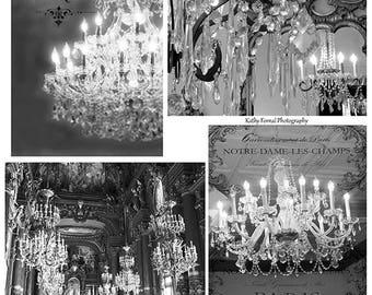 Paris Chandelier Prints, Paris Black and White Chandelier Prints, French Decor, Paris Black and White Chandelier Wall Decor, Paris Wall Art,