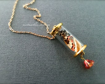 Real Butterfly Wing in Miniature Glass Tube Necklace. Gold. Nature. Woodland. Gold Chain. Under 25 Gifts. Orange. Whimsical. Glass Bead.