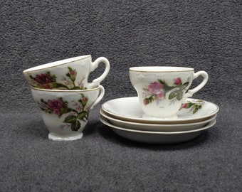 Vintage Demitasse Cups and Saucers Made in Japan - Pink Rose Coffee Cup and Saucer - Floral Demitasse