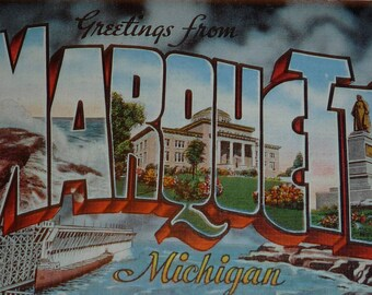 Large Letter Greetings From Marquette, Michigan Vintage Linen Postcard