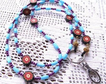 Badge or Eyeglass Lanyard  in Blue and Purple with Polyclay Beads