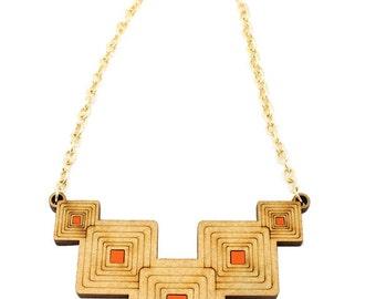 "Wooden ""Blocks"" geometric necklace - blue, wood - minimalist, modern jewelry, laser cut jewerly."