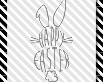 Happy Easter svg file - Easter svg cut file - bunny svg - Easter svg - silhouette svg - bunny svg - cricut cut file - dxf file - svg file