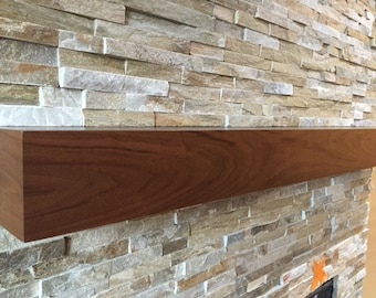 Walnut modern beam mantel, black walnut mantel.
