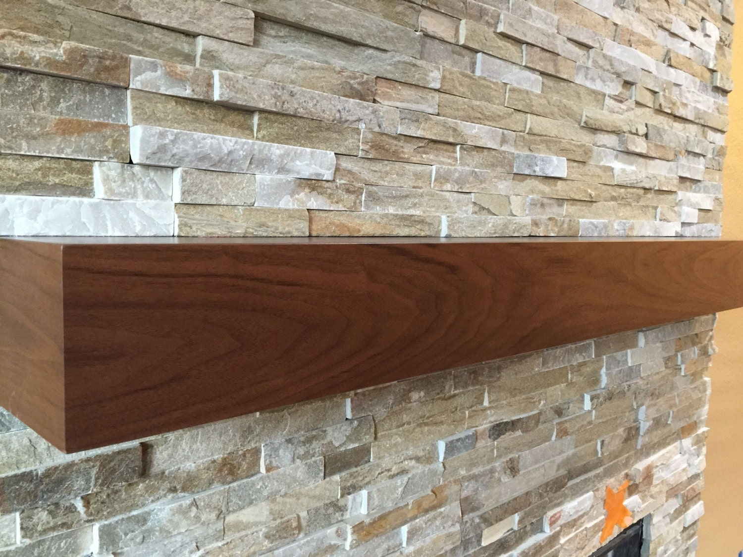 Walnut Modern Beam Mantel Black Walnut Mantel