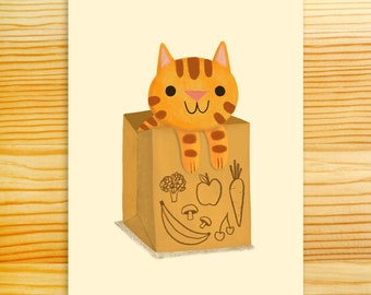 Cat in a Bag 5x7 Art Print