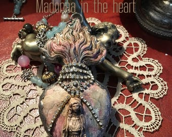 Madonna on heart of clay welded in silver alloy. Soldered nekclace. soldered jewelry, soldered necklace, Milagros, ex vote.