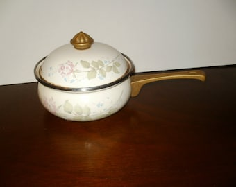 Vintage Pan with Decorative Floral Pattern and Brass Handle - Shabby Chic Cooking Kitchen Decorative Display
