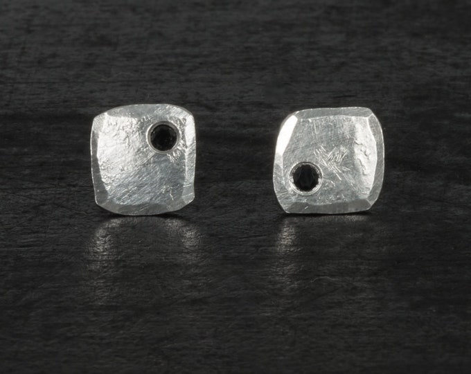 Sterling silver square stud earrings, shiny with black spinels.