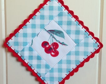 sweet vintage cherry and aqua gingham pot holder