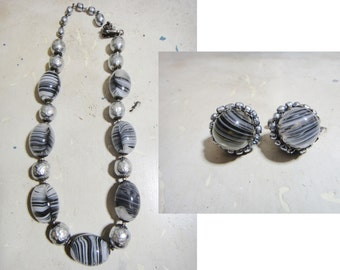 Miriam Haskell Jewelry / Necklace + Earrings / 1960s Jewelry Set