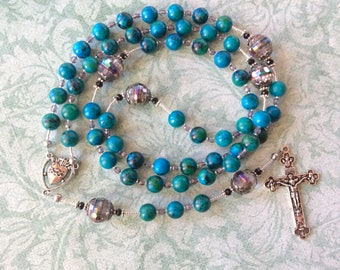 """Blue & Green Stone Bead Rosary with Glass """"Our Father"""" Beads, Wire Strung. Sacred Heart center, Tertium Millennium Crucifix. Catholic Gifts."""
