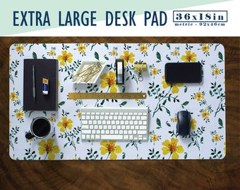 Daffodil Pattern Extra Large Desk Pad with Available Custom Monogram - Extended Mouse Mat - 36x18in