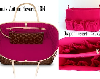 Diaper Extra Large Purse organizer for Louis Vuitton Neverfull GM in Fuchsia fabric with elastic pockets