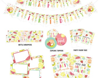 Tutti Frutti Party Printables, Tutti Frutti Digital Decorations, Tutti Frutti Banner, Favors, Cupcake Toppers, Food Labels,  Party Sign