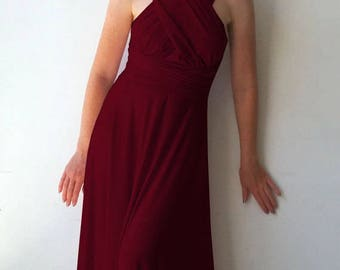 Maxi bridesmaid dress with tube top Infinity dress in bordo color