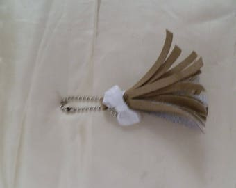 Small suede tassel keychain
