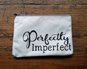 "Hand painted, make up bag organizer, ""Perfectly Imperfect"""