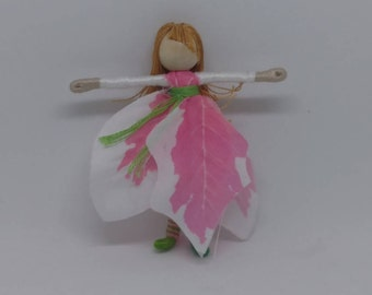 Christmas Fairy - Waldorf Flower Fairy Doll - Pink and White Flower Fairy - Poinsettia